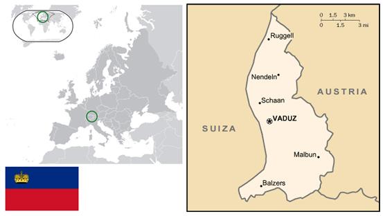 Situación de Liechtenstein en Europa